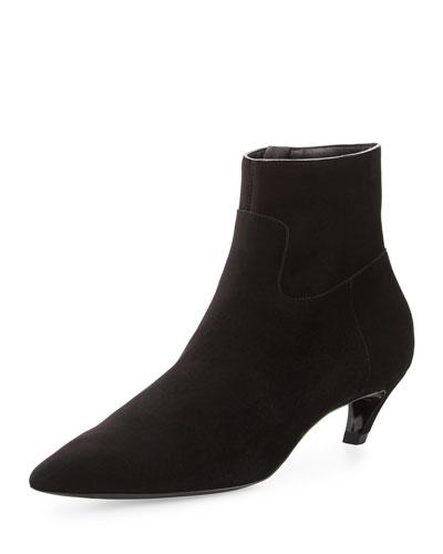 Suede Crooked-Heel Ankle Boot, Noir
