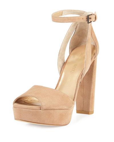 Hijinx Suede Chunky-Heel Sandal, Cashew