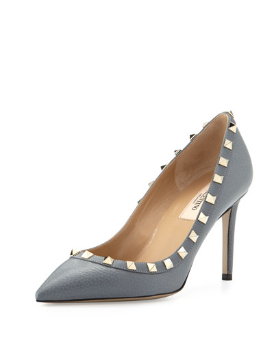 Rockstud Leather 85mm Pump, Light Stone