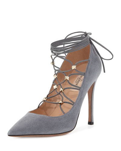 Rockstud Suede Lace-Up 105mm Pump, Light Stone
