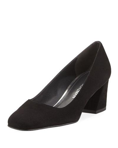 Marymid Suede Mid-Heel Pump, Black