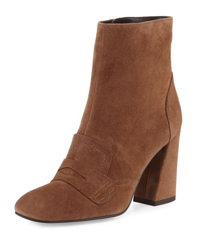 Moxanne Suede Loafer Bootie, Nutmeg