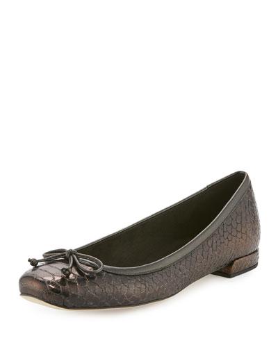 Shoestring Snake-Embossed Ballerina Flat, Auburn Shadow