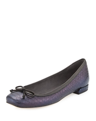 Shoestring Snake-Embossed Ballerina Flat, Sky Shadow