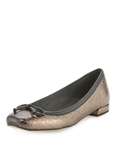 Shoestring Suede Ballerina Flat, Earth