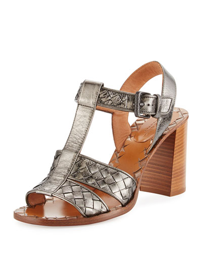 Intrecciato T-Strap 80mm Sandal, Argento Antique