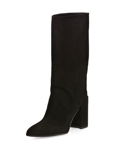 Straighten Pointed-Toe Suede Boot, Black