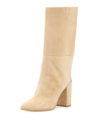 Straighten Pointed-Toe Suede Boot, Skin