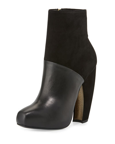 Suede & Leather High-Heel Bootie, Black