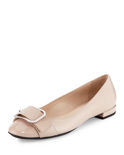 Patent Buckle Ballerina Flat, Black (Nero)