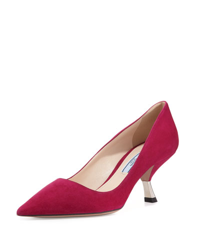 Suede Comma-Heel Pointed-Toe Pump, Bougainvillea