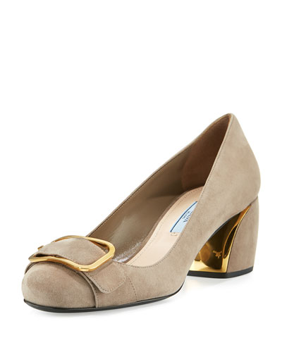 Suede Buckle-Toe 55mm Pump, Agrilla
