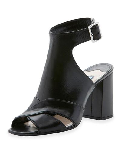 Leather Cutout Ankle-Strap Sandal, Nero
