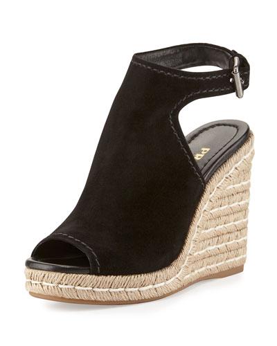 Suede Open-Toe Espadrille Glove Sandal, Black (Nero)
