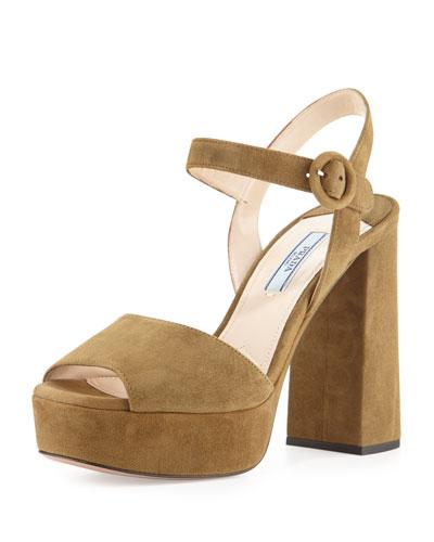 Suede Platform Ankle-Strap Sandal, Coloniale