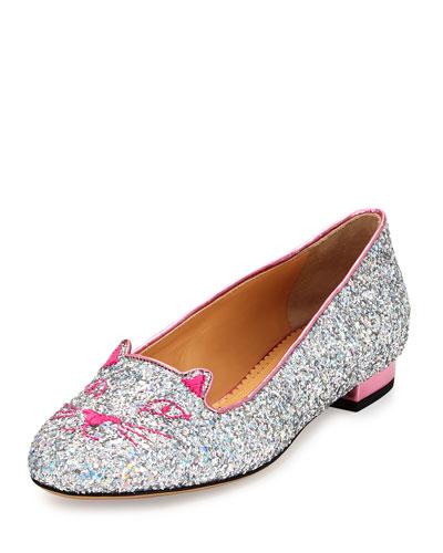 Mid-Century Kitty Glitter Flat, Silver