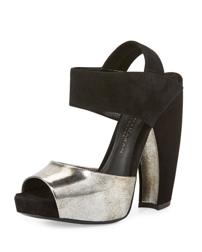 Suede & Leather Slingback Sandal, Hematite/Black