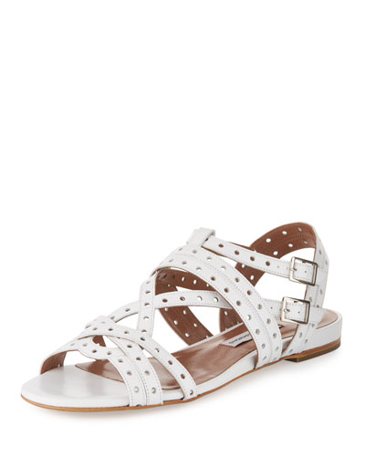 Felicity Perforated Leather Sandal, White
