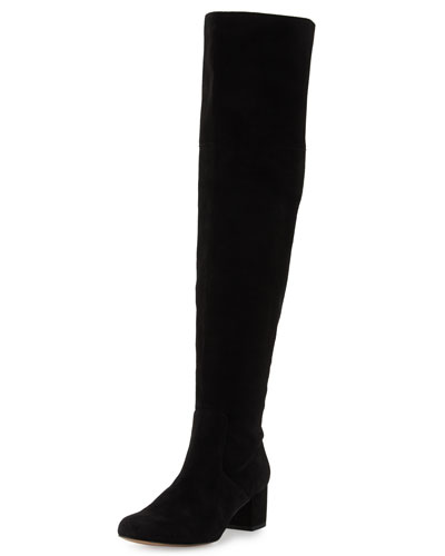 Elina Suede Over-the-Knee Boot, Black