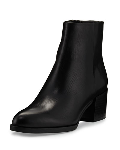 Joey Leather 55mm Ankle Boot, Black