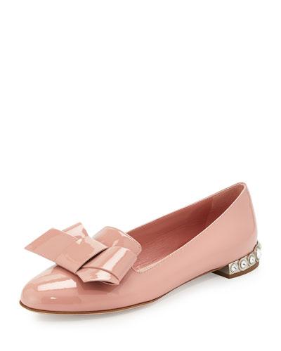 Jewel-Heel Patent Bow Flat, Camellia
