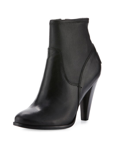 Mikaela Stretch Leather Bootie, Black
