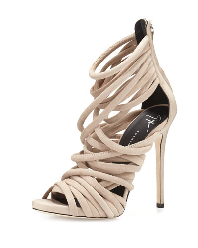 Strappy Suede 110mm Sandal, Blush