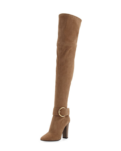 Stretch-Suede Buckle Over-the-Knee Boot, Caramel