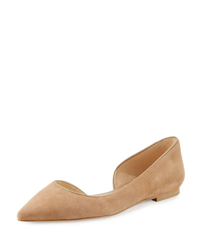Reema d'Orsay Pointed-Toe Flat, Oatmeal