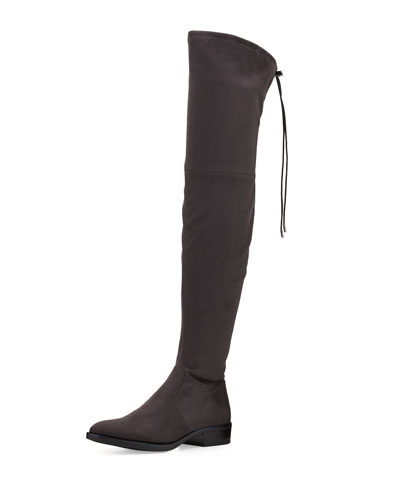 Paloma Suede Over-the-Knee Boot, Dark Gray