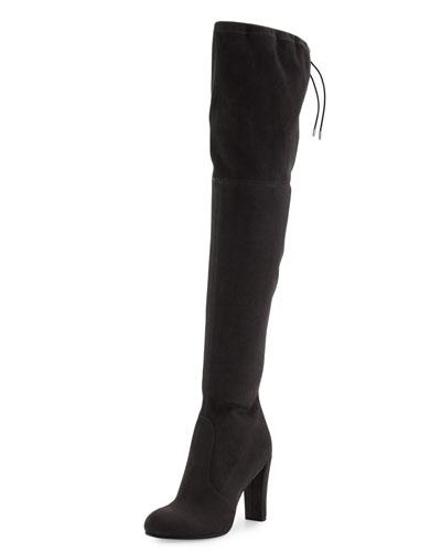 Kent Suede Over-the-Knee Boot, Dark Gray