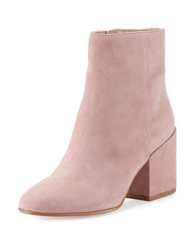 Taye Suede Chunky-Heel Bootie, Pink Mauve
