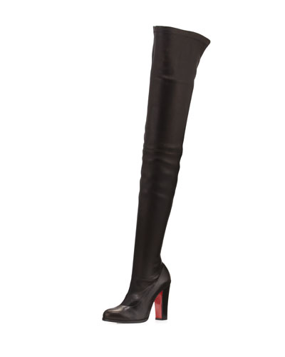 Verusch Leather 100mm Over-the-Knee Red Sole Boot, Black
