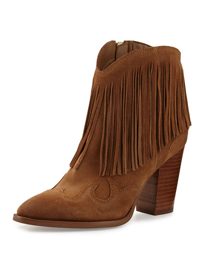 Benjie Suede Fringe Western Boot, Golden Caramel
