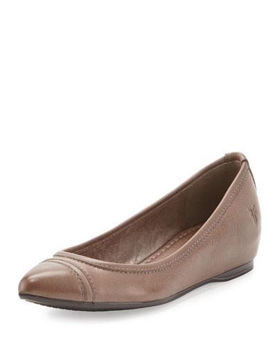 Alicia Leather Ballerina Flat, Gray