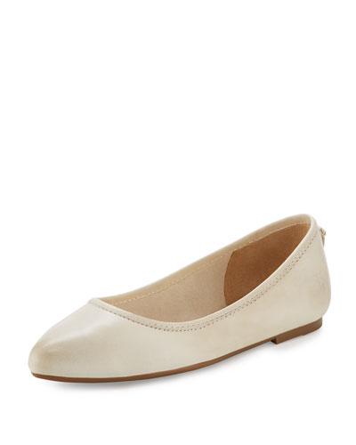 Regina Leather Ballerina Flat, Off White