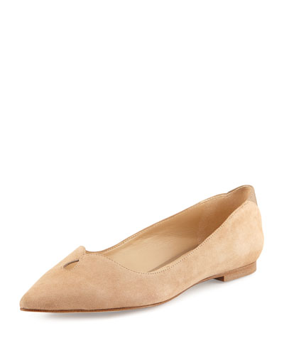 Ruby Pointed-Toe Skimmer Flat, Oatmeal