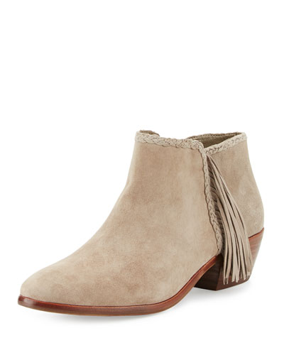 Paige Leather Fringe Bootie, Putty