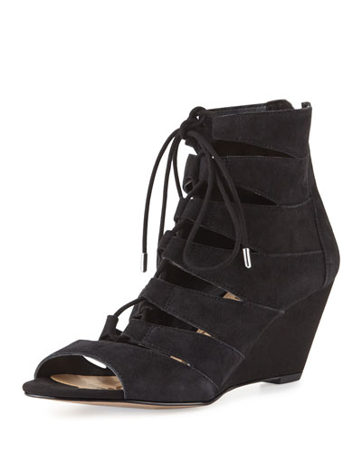 Santina Lace-Up Wedge Sandal, Black