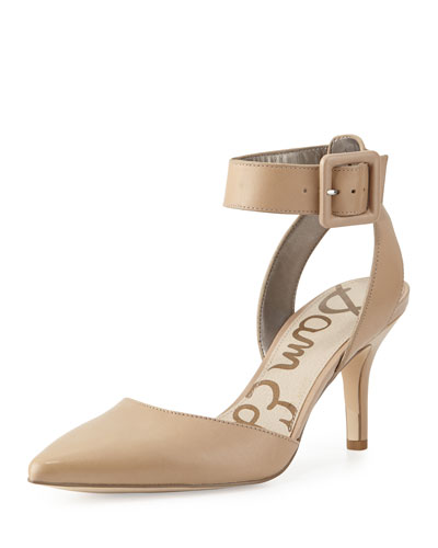 Okala Leather Ankle-Wrap Pump, Classic Nude