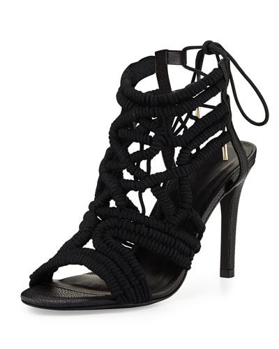 Aria Woven Strappy Sandal, Black