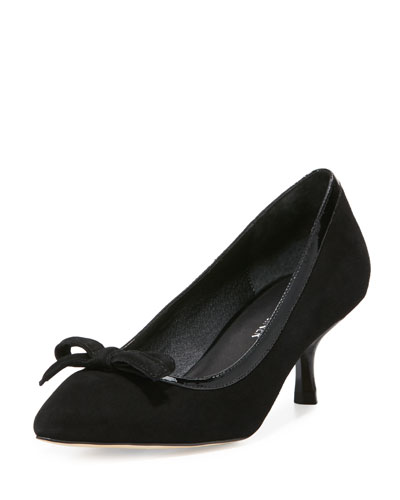 Ginni Bow Suede Pump, Black
