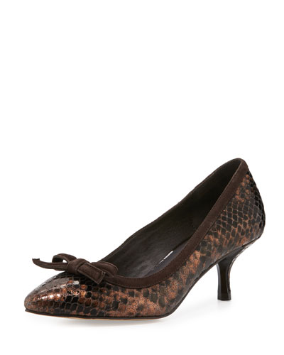 Ginni Bow Python-Print Pump, Bronze/Dark Brown