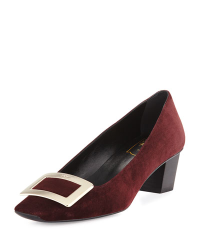 Decollete Belle Vivier Suede Pump, Burgundy