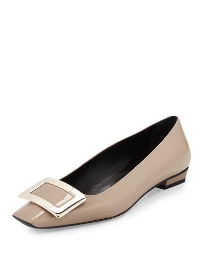 Belle Vivier Patent Ballerina Flat, Stone