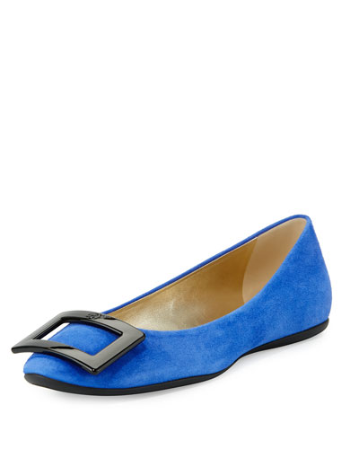 Gommette Buckle Leather Flat, China Blue