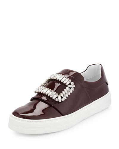 Leather Strass Buckle Sneaker, Burgundy