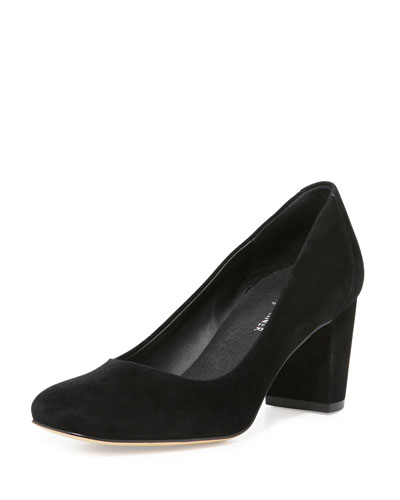 Palace Suede Block-Heel Pump, Black