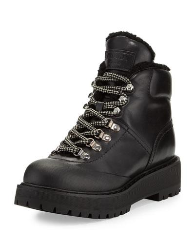 Shearling-Trim Leather Hiking Boot, Black (Nero)