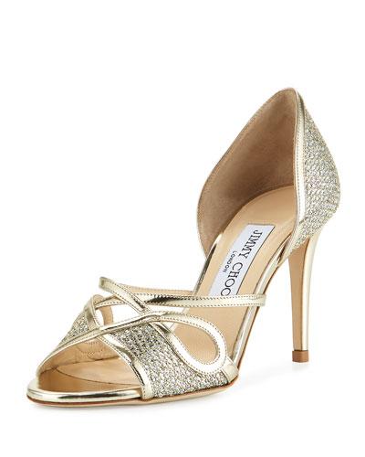 Trixie Glitter d'Orsay 85mm Sandal, Champagne